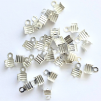 100 Silver Plated 6X5mm Folding Crimp Ends